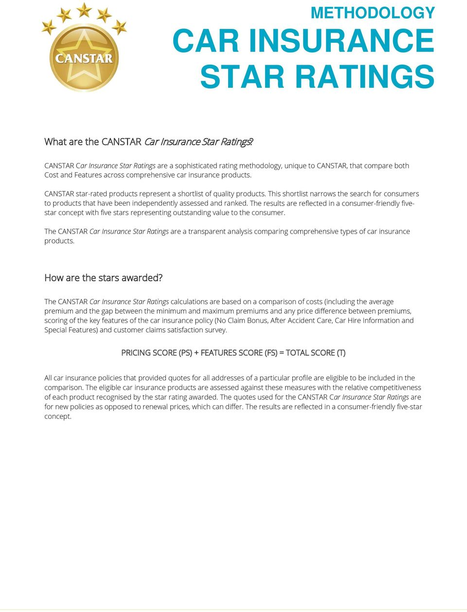 CANSTAR star-rated products represent a shortlist of quality products. This shortlist narrows the search for consumers to products that have been independently assessed and ranked.