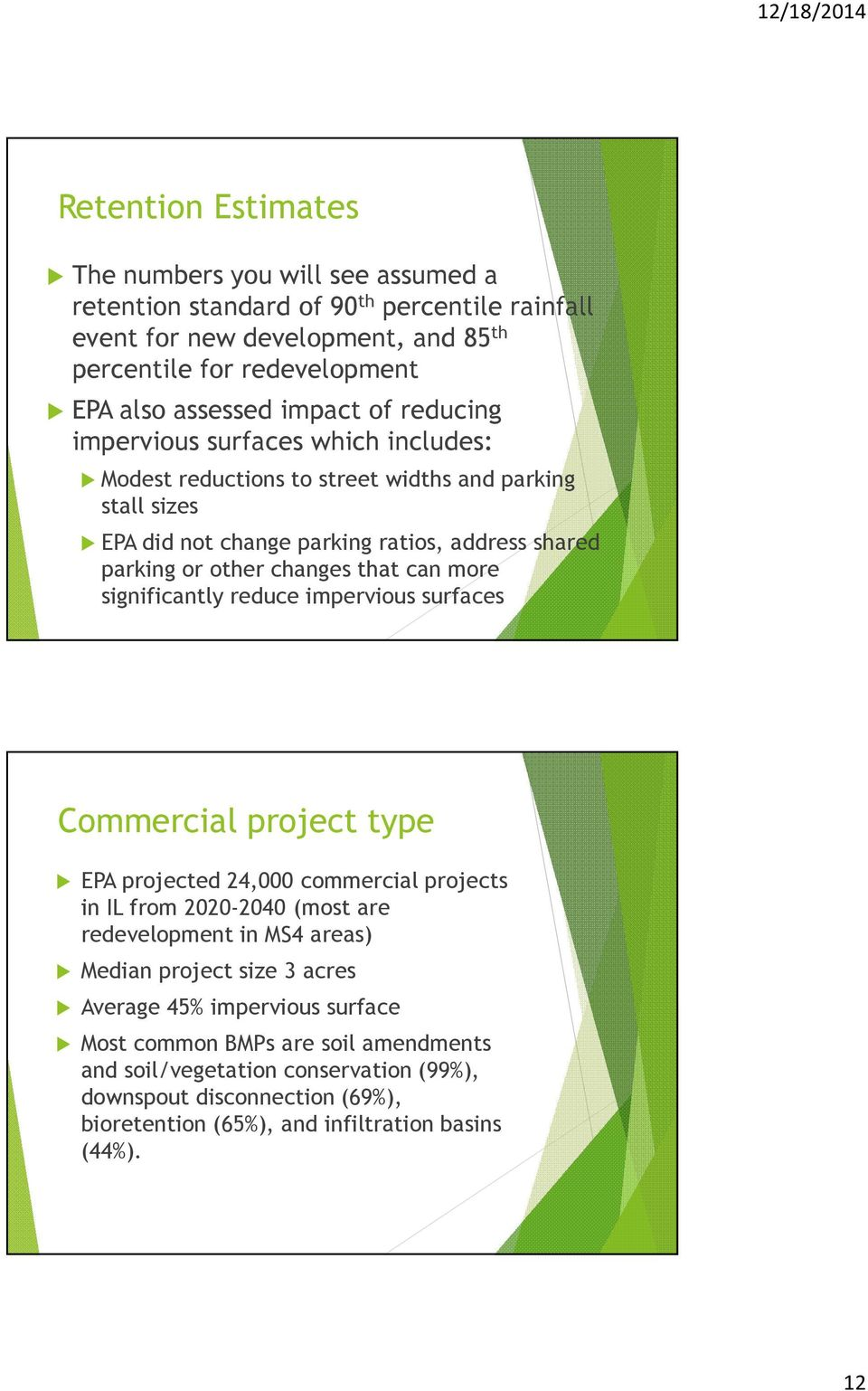 more significantly reduce impervious surfaces Commercial project type EPA projected 24,000 commercial projects in IL from 2020-2040 (most are redevelopment in MS4 areas) Median project size 3