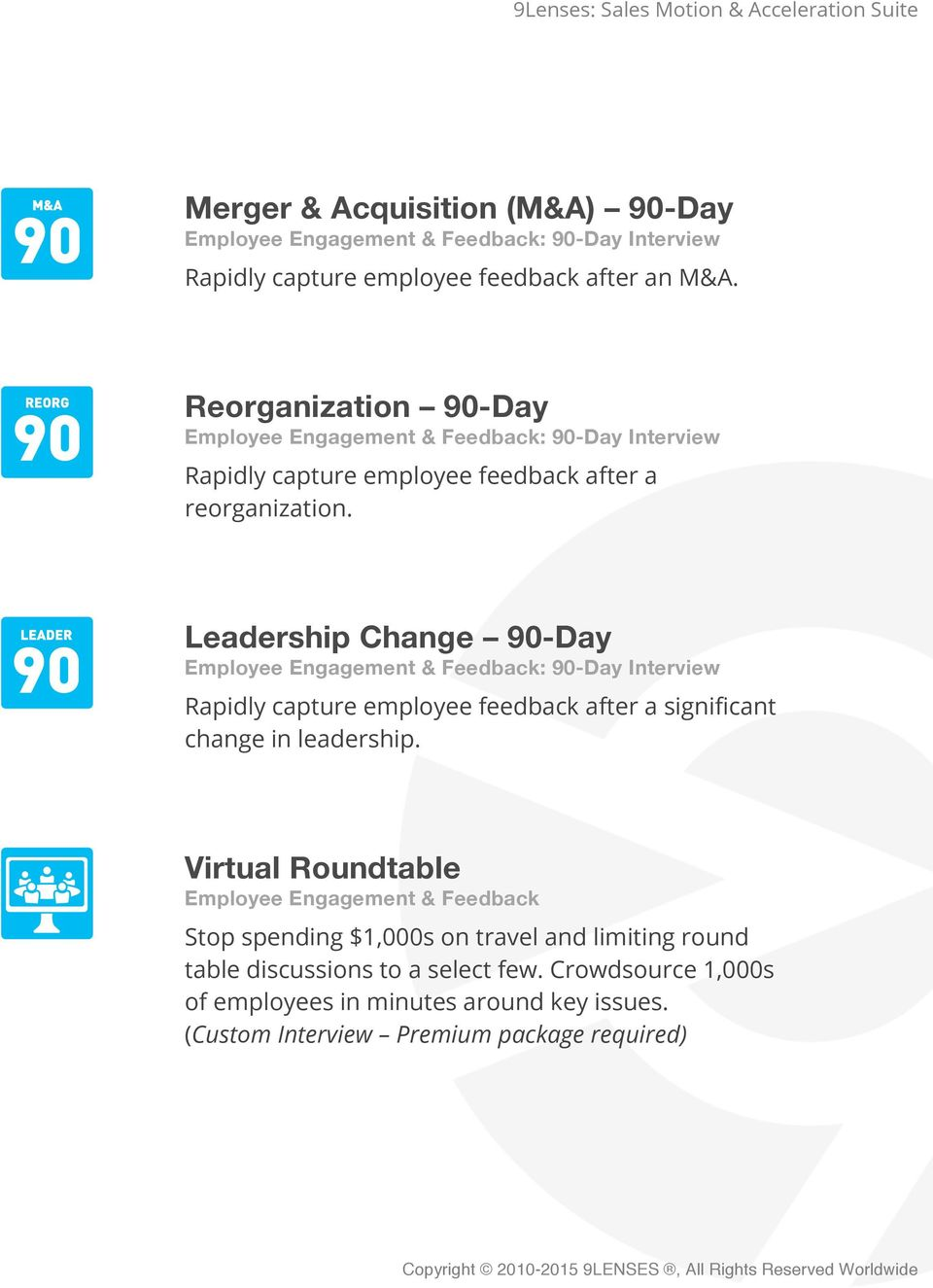 Leadership Change 90-Day Employee Engagement & Feedback: 90-Day Interview Rapidly capture employee feedback after a significant change in leadership.