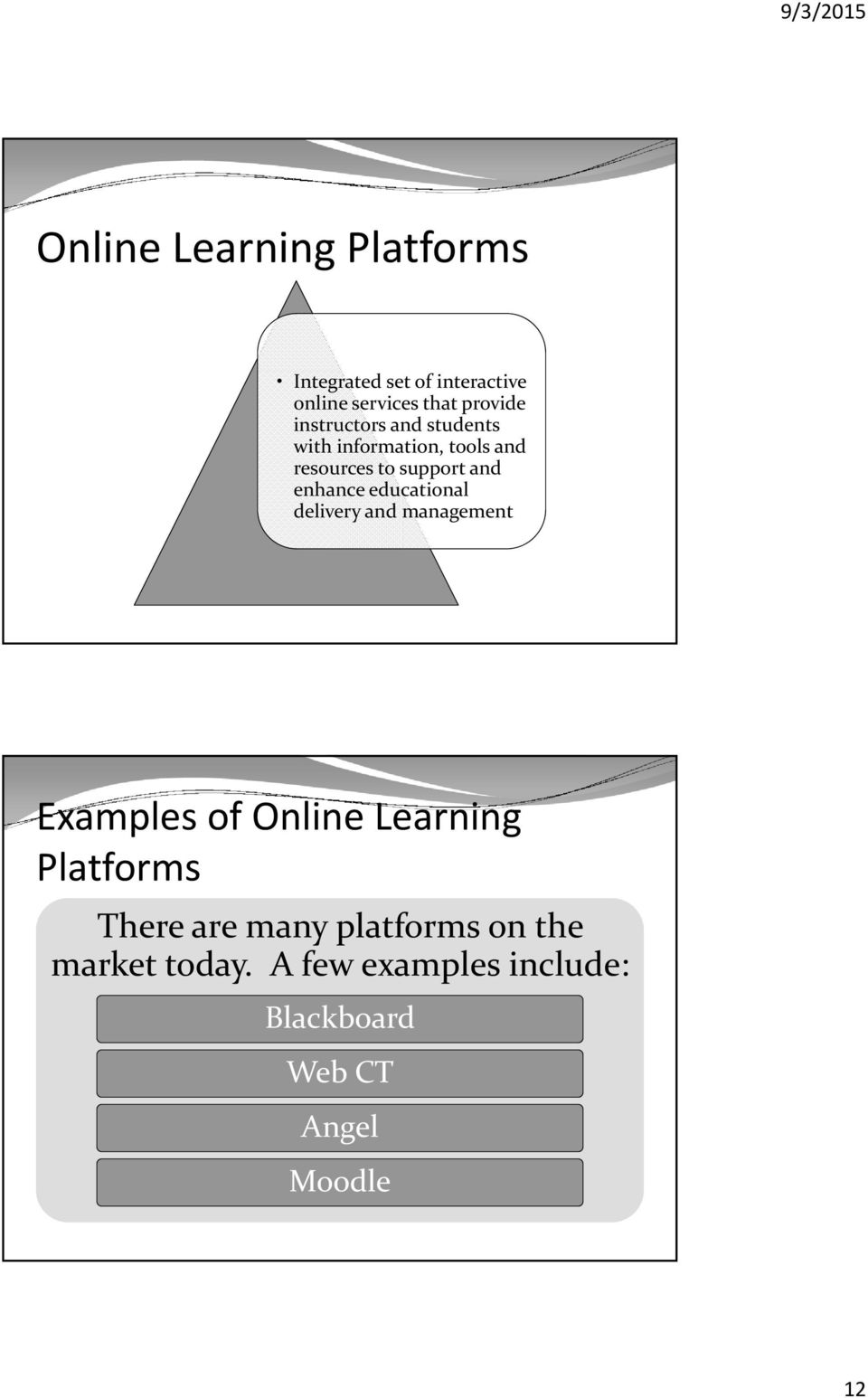 educational delivery and management Examples of Online Learning Platforms There are