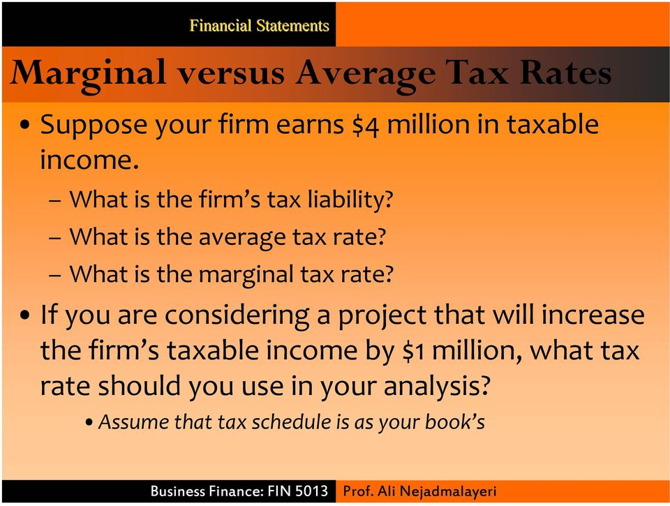 What is the marginal tax rate?