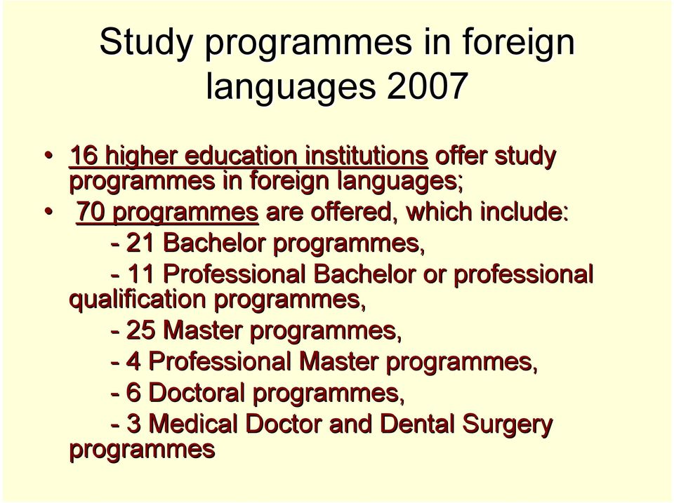 programmes, - 11 Professional Bachelor or professional qualification programmes, - 25 Master