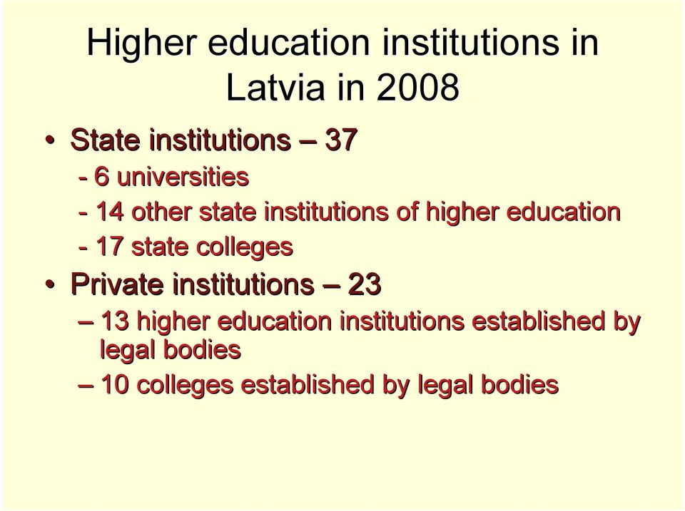 17 state colleges Private institutions 23 13 higher education