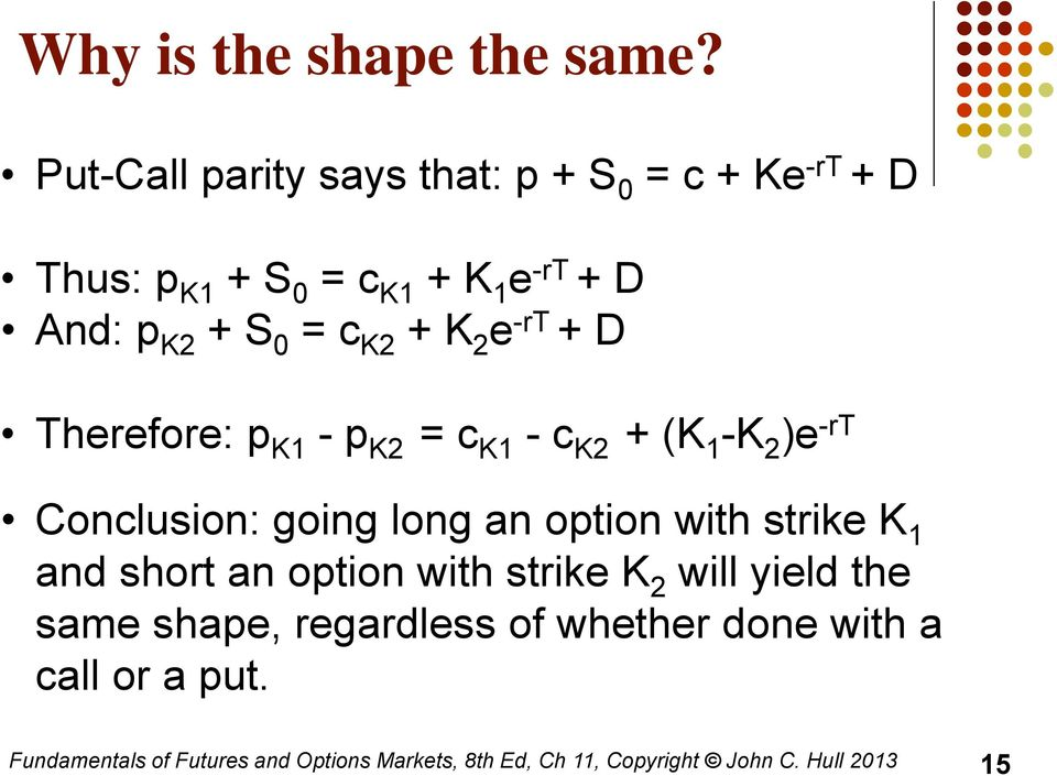 And: p K2 + S 0 = c K2 + K 2 e -rt + D Therefore: p K1 - p K2 = c K1 - c K2 + (K 1 -K 2 )e -rt