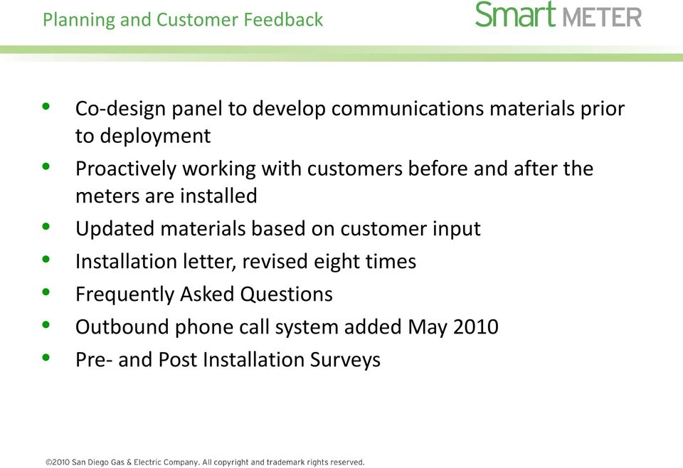 Updated materials based on customer input Installation letter, revised eight times