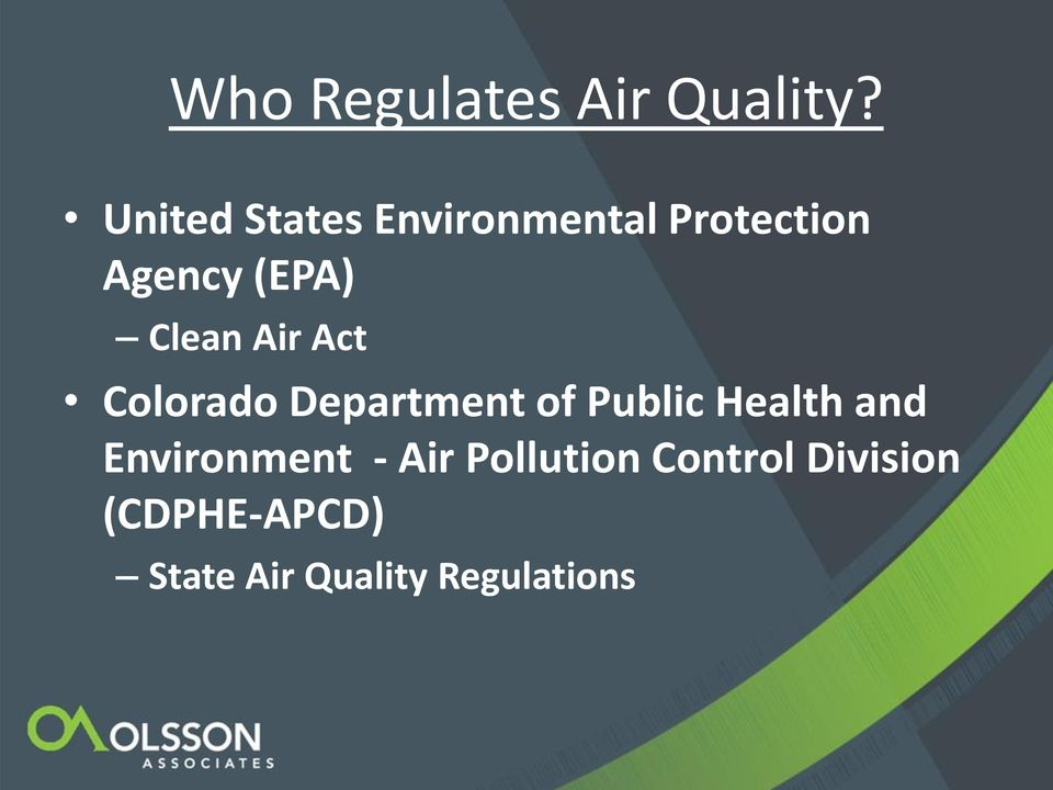 Clean Air Act Colorado Department of Public Health and