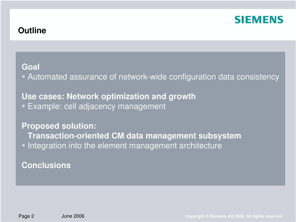 solution: Transaction-oriented CM data management subsystem Integration into the element