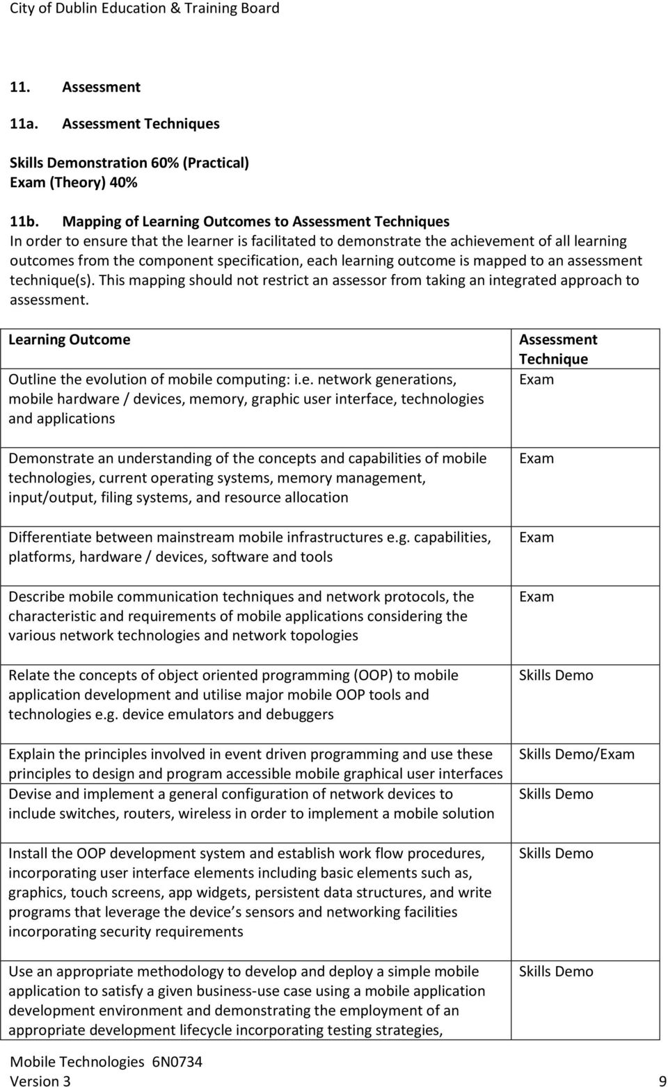 learning outcome is mapped to an assessment technique(s). This mapping should not restrict an assessor from taking an integrated approach to assessment.