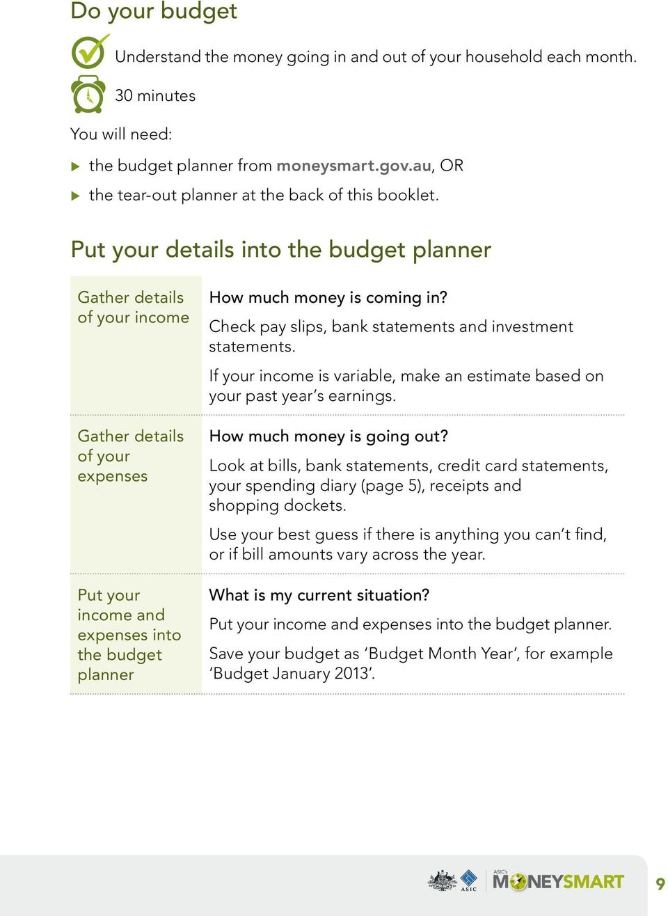 Put your details into the budget planner Gather details of your income Gather details of your expenses Put your income and expenses into the budget planner How much money is coming in?