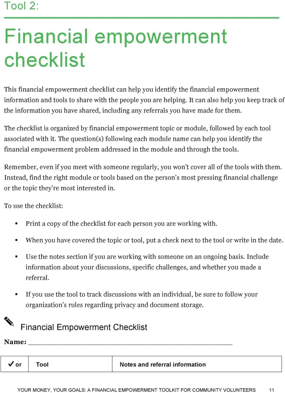 The checklist is organized by financial empowerment topic or module, followed by each tool associated with it.