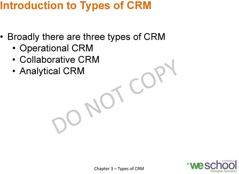 types of CRM Operational CRM