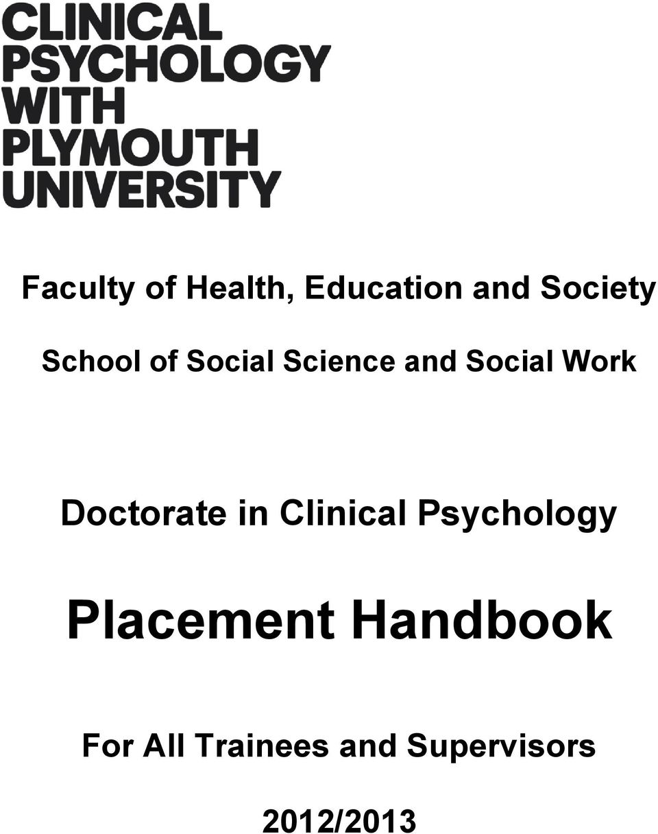 Doctorate in Clinical Psychology Placement
