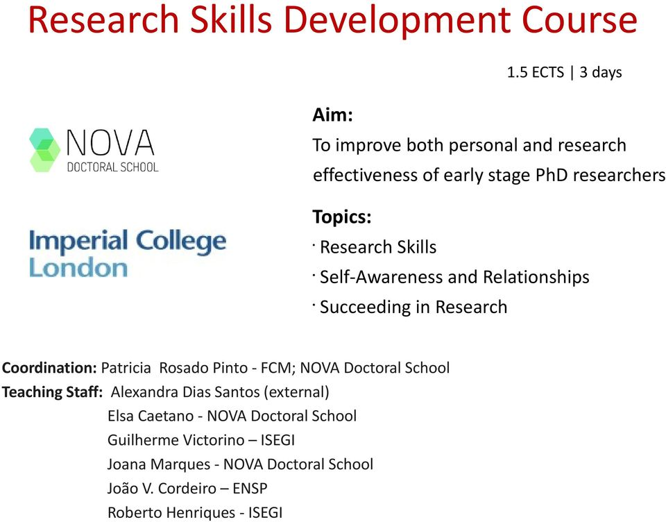 5 ECTS 3 days Self-Awareness and Relationships Succeeding in Research Coordination: Patricia Rosado Pinto - FCM; NOVA