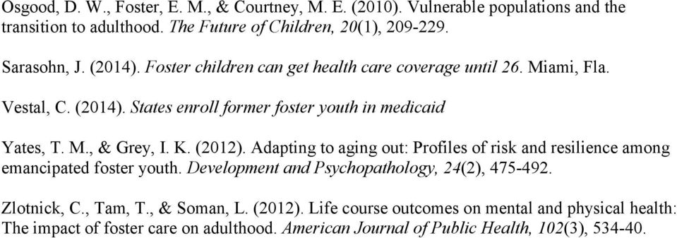 K. (2012). Adapting to aging out: Profiles of risk and resilience among emancipated foster youth. Development and Psychopathology, 24(2), 475-492. Zlotnick, C.