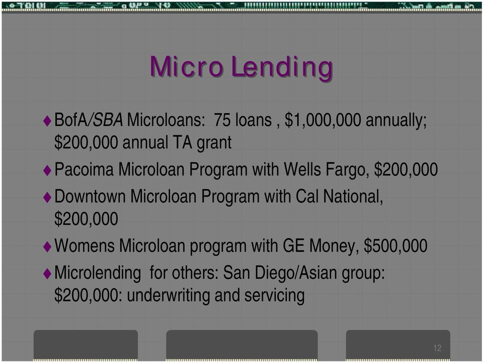 Program with Cal National, $200,000 Womens Microloan program with GE Money,