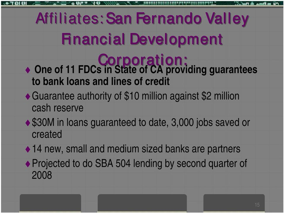 $2 million cash reserve $30M in loans guaranteed to date, 3,000 jobs saved or created 14 new,