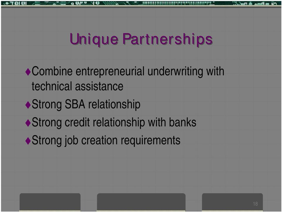 Strong SBA relationship Strong credit