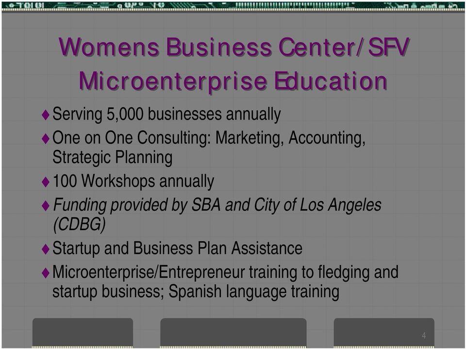provided by SBA and City of Los Angeles (CDBG) Startup and Business Plan Assistance