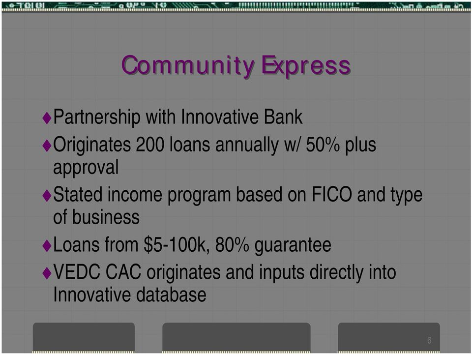 based on FICO and type of business Loans from $5-100k, 80%