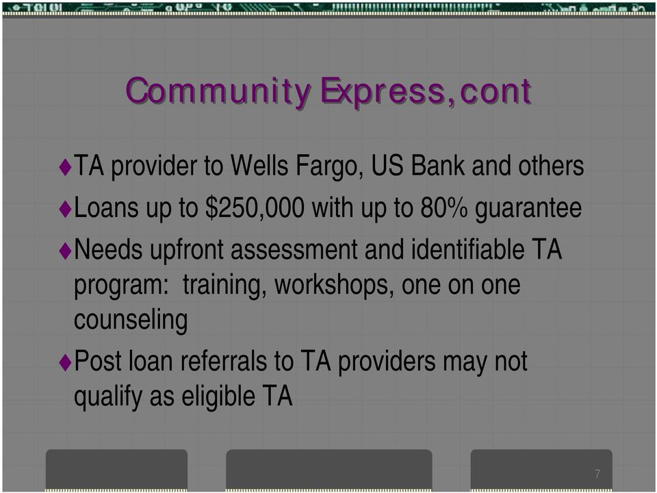 and identifiable TA program: training, workshops, one on one
