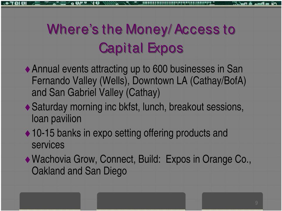 morning inc bkfst, lunch, breakout sessions, loan pavilion 10-15 banks in expo setting