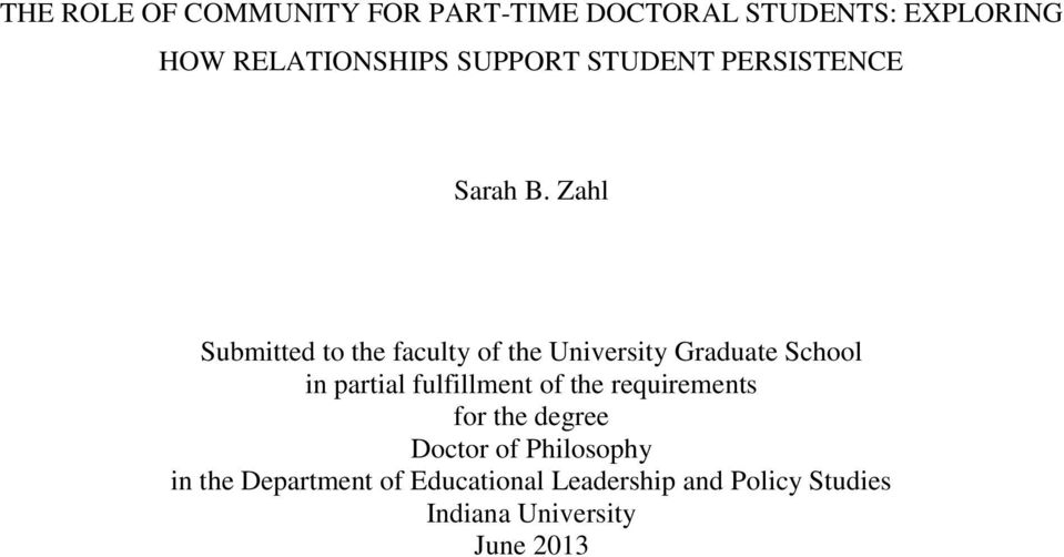 Zahl Submitted to the faculty of the University Graduate School in partial fulfillment