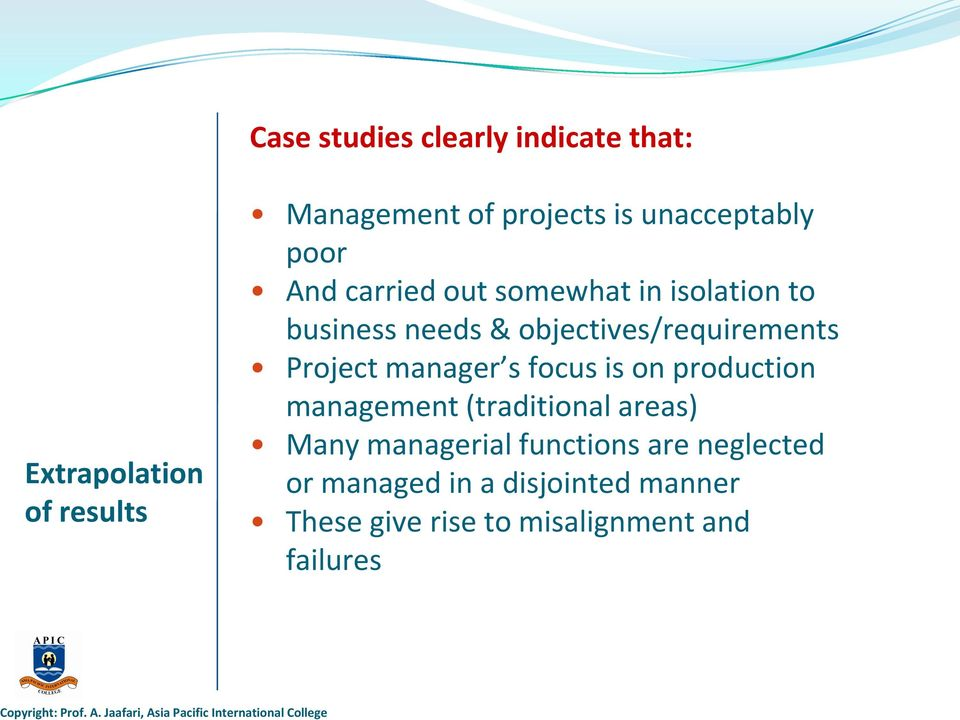 Management of projects is unacceptably poor And carried out somewhat in isolation to business needs &