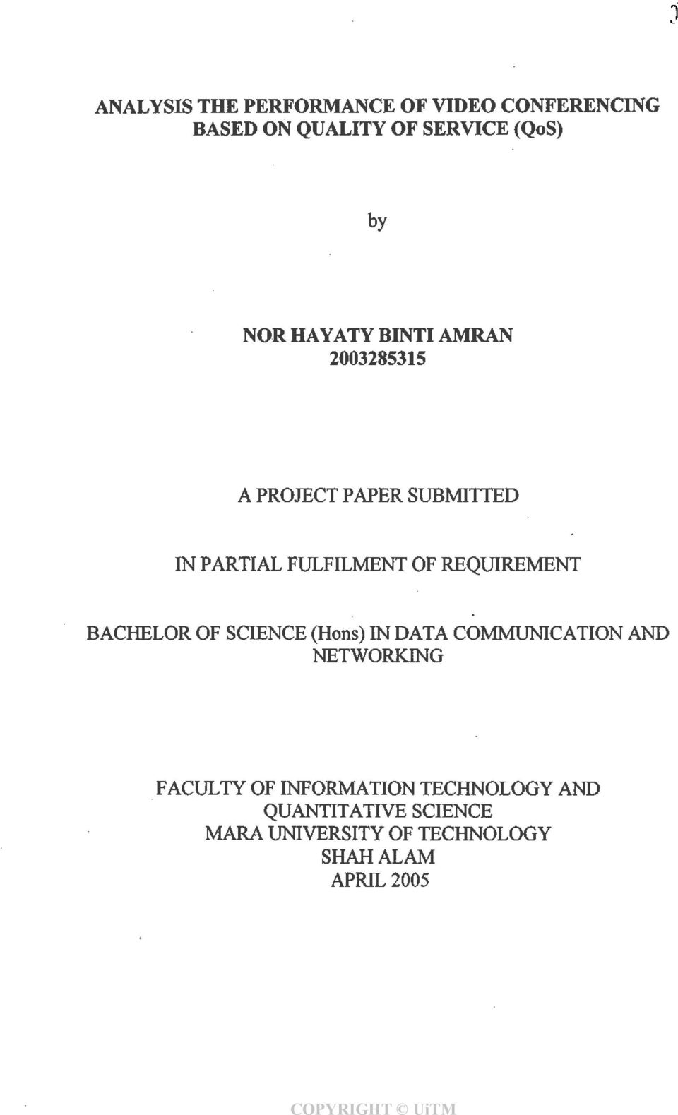 REQUIREMENT BACHELOR OF SCIENCE (Hons) IN DATA COMMUNICATION AND NETWORKING FACULTY OF