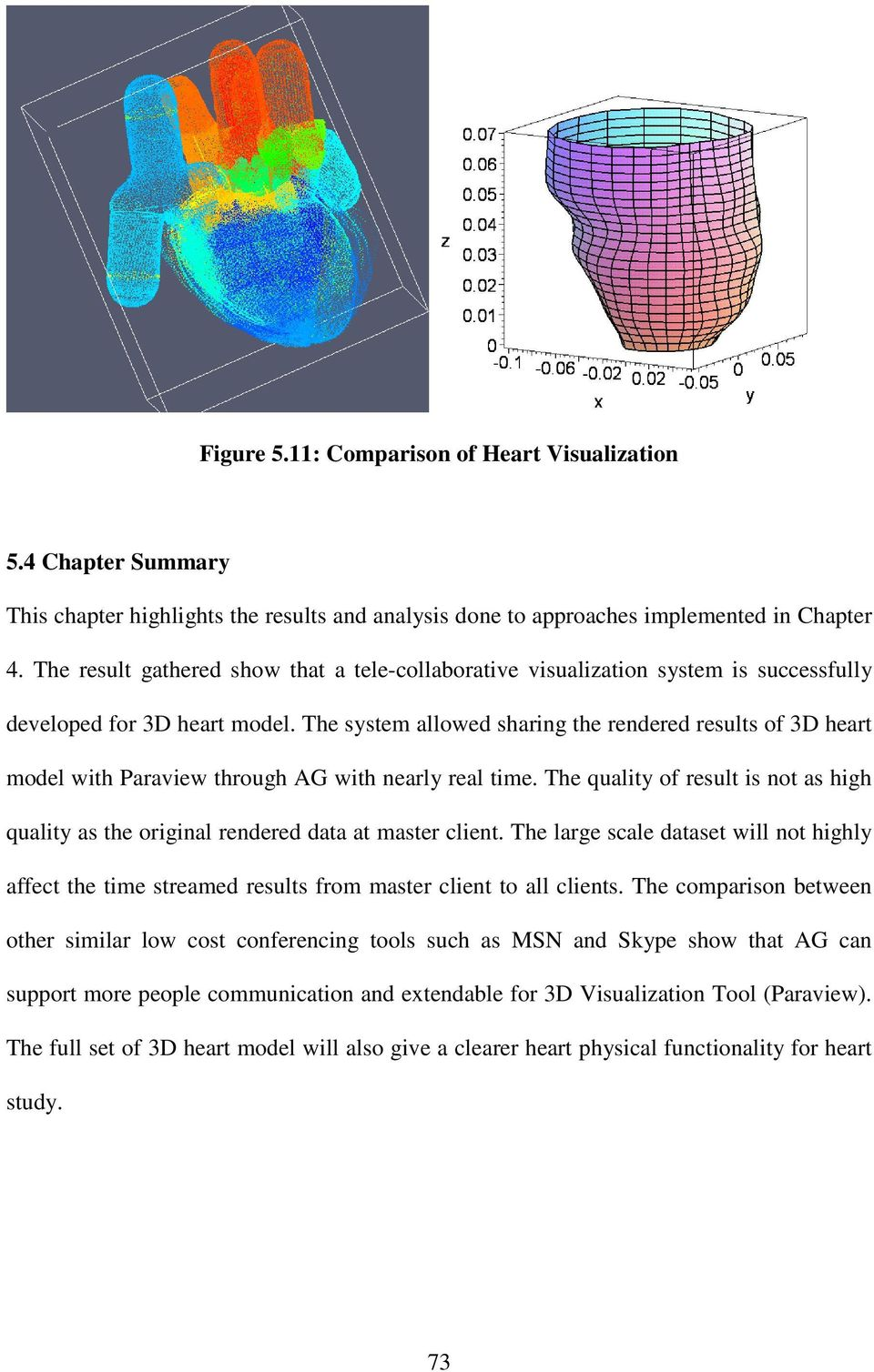 The system allowed sharing the rendered results of 3D heart model with Paraview through AG with nearly real time.