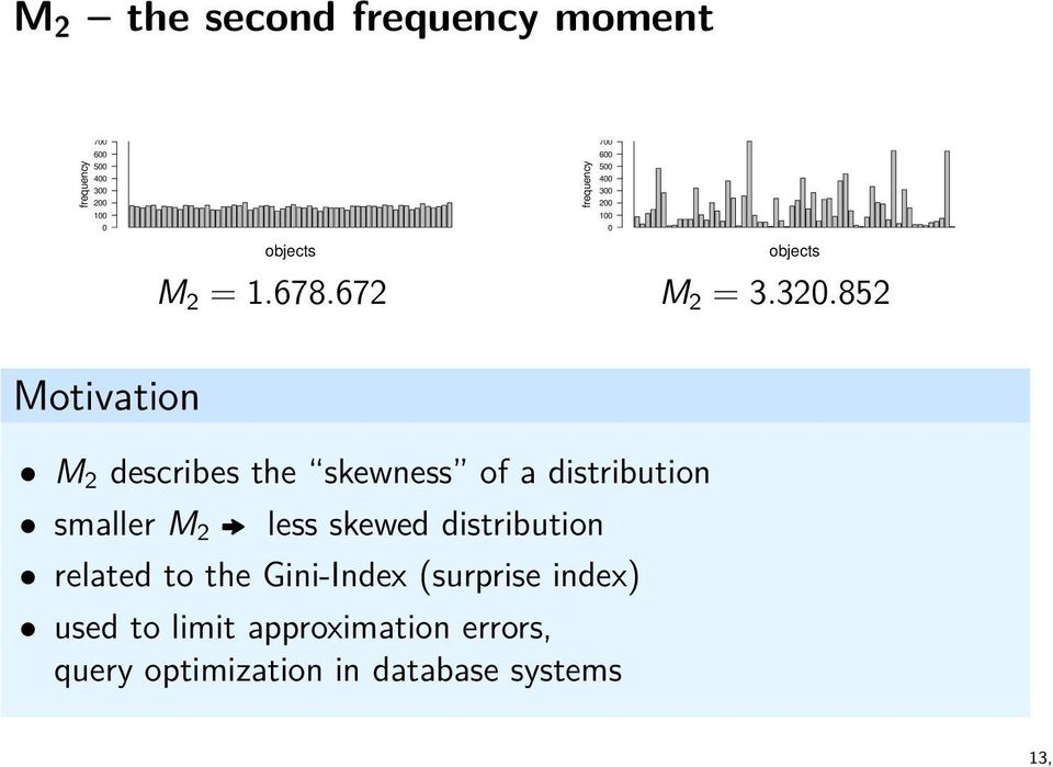 852 Motivation M 2 describes the skewness of a distribution smaller M 2 less skewed