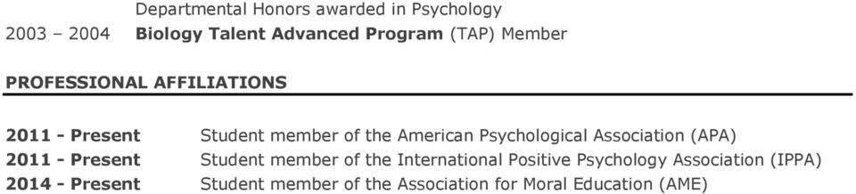 Psychological Association (APA) 2011 - Present Student member of the International Positive