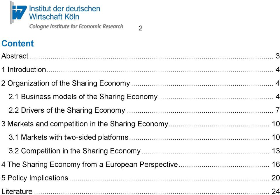 1 Markets with two-sided platforms... 10 3.2 Competition in the Sharing Economy.