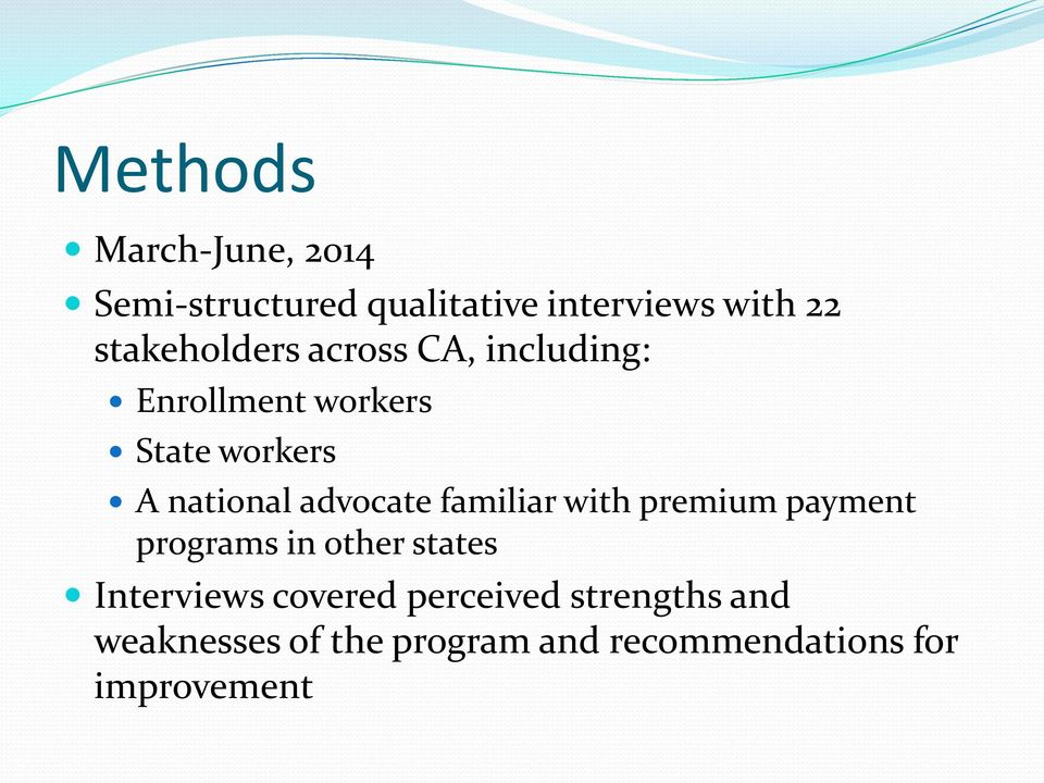 advocate familiar with premium payment programs in other states Interviews