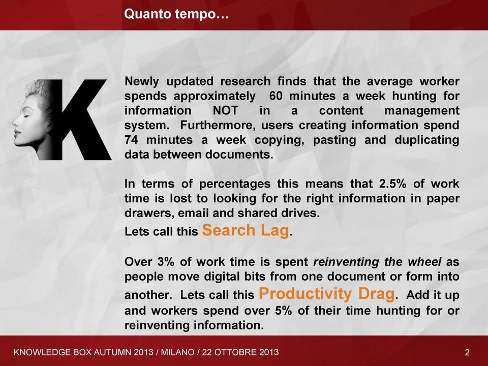 5% of work time is lost to looking for the right information in paper drawers, email and shared drives. Lets call this Search Lag.