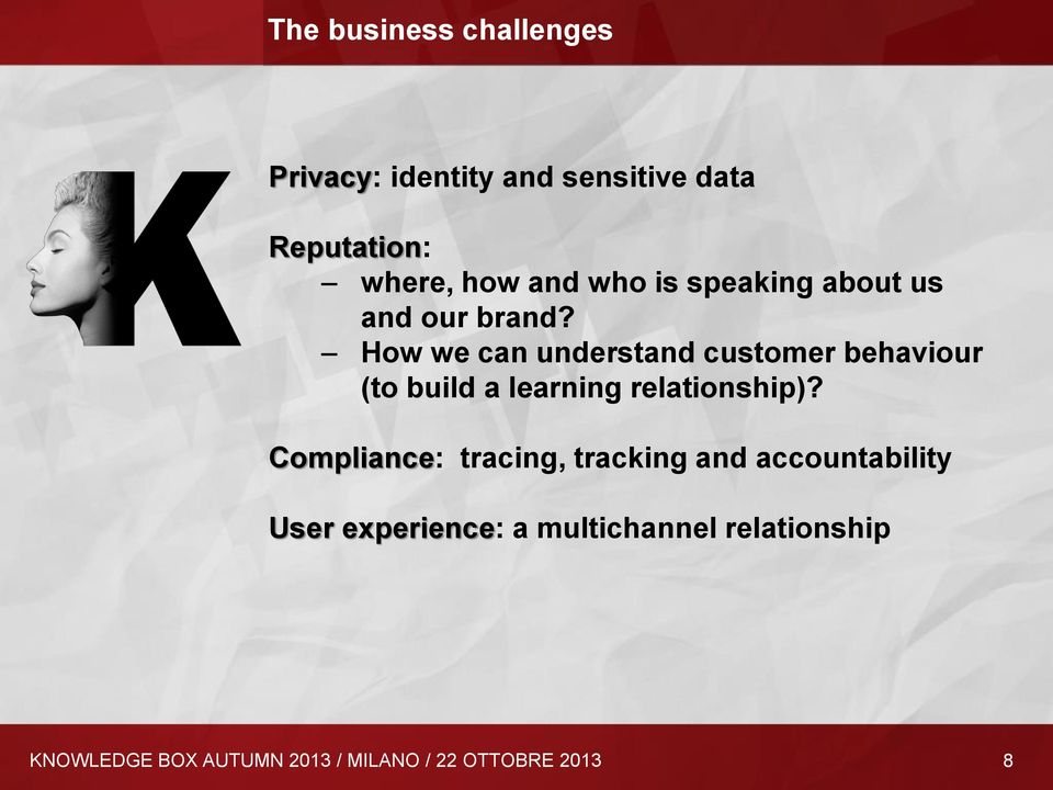 How we can understand customer behaviour (to build a learning relationship)?