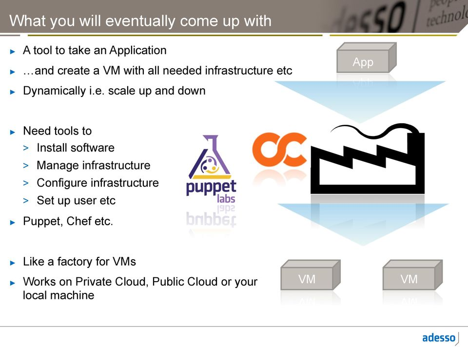 ded infrastructure etc Dynamically i.e. scale up and down App Need tools to > Install