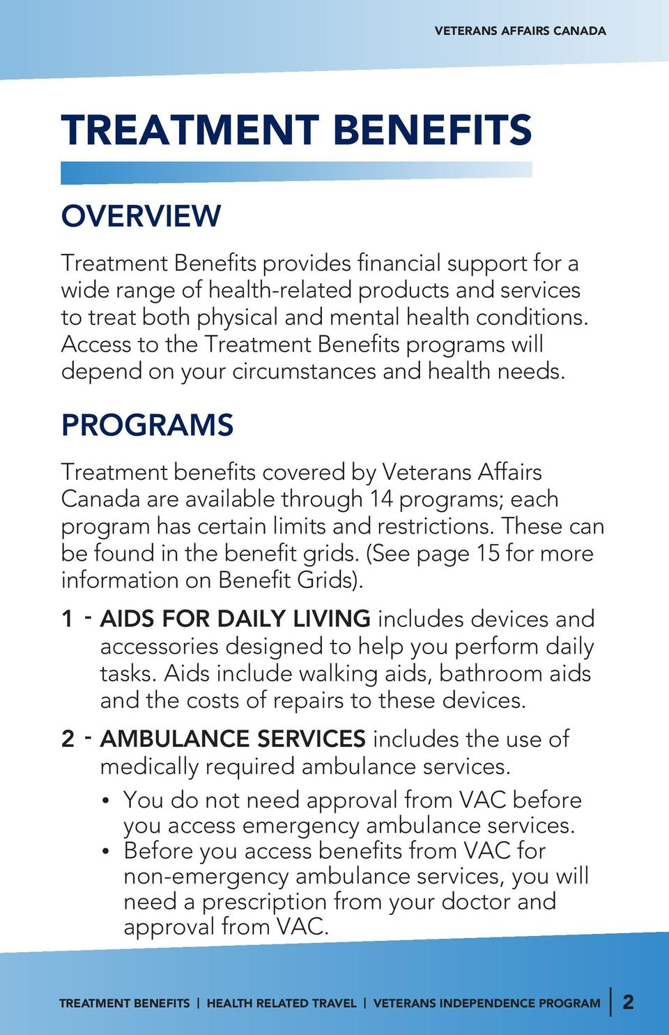 PROGRAMS Treatment benefits covered by Veterans Affairs Canada are available through 14 programs; each program has certain limits and restrictions. These can be found in the benefit grids.