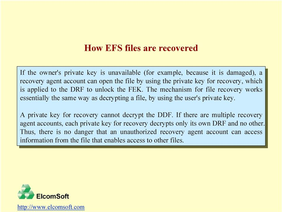 FEK. The The mechanism for for file file recovery works works essentially the the same same way way as as decrypting a a file, file, by by using using the the user's user's private private key.