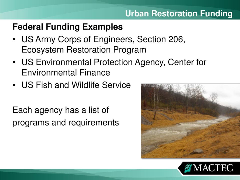 Environmental Protection Agency, Center for Environmental Finance