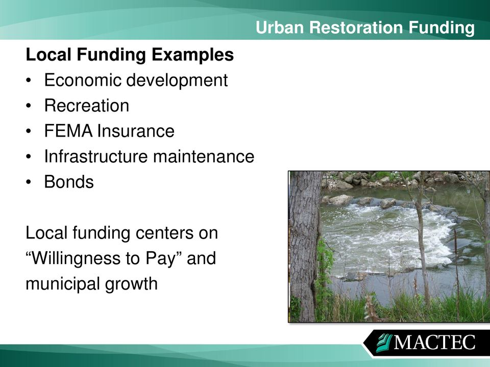 Infrastructure maintenance Bonds Local funding