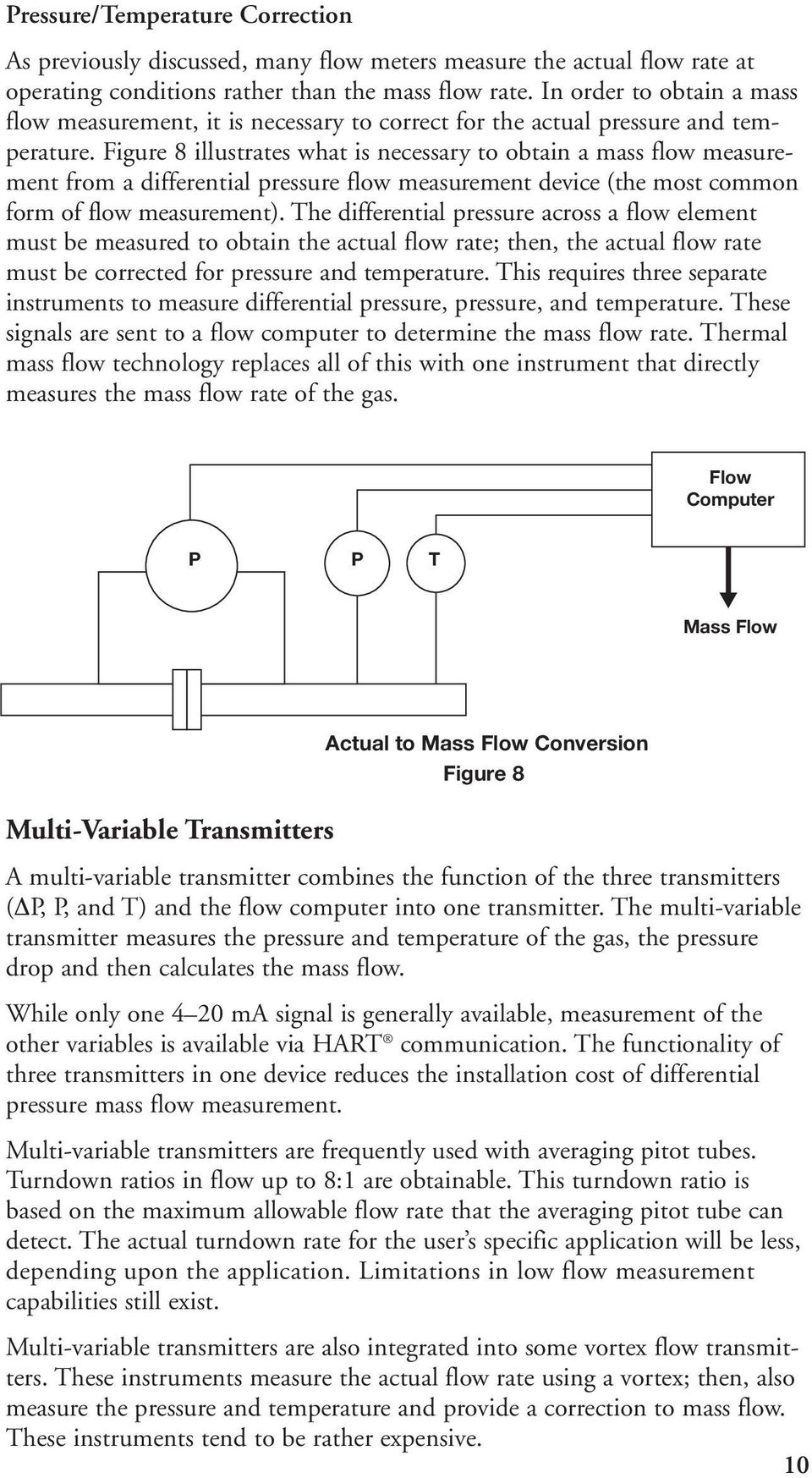 Figure 8 illustrates what is necessary to obtain a mass flow measurement from a differential pressure flow measurement device (the most common form of flow measurement).