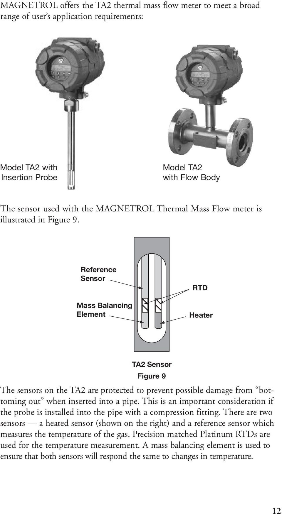 Reference Sensor Mass Balancing Element RTD Heater TA2 Sensor Figure 9 The sensors on the TA2 are protected to prevent possible damage from bottoming out when inserted into a pipe.
