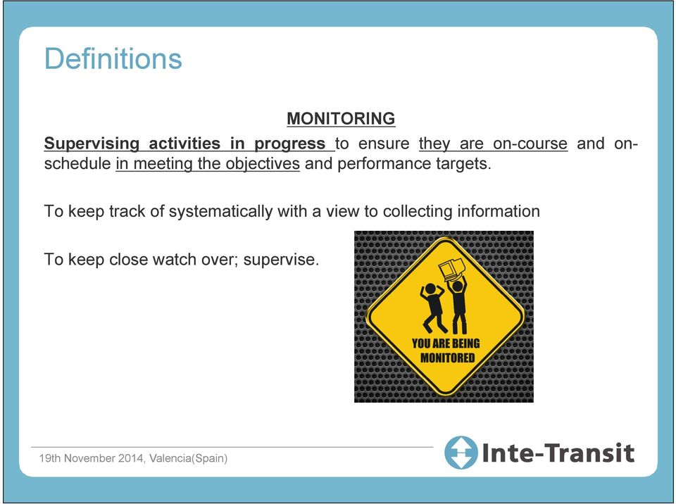 objectives and performance targets.
