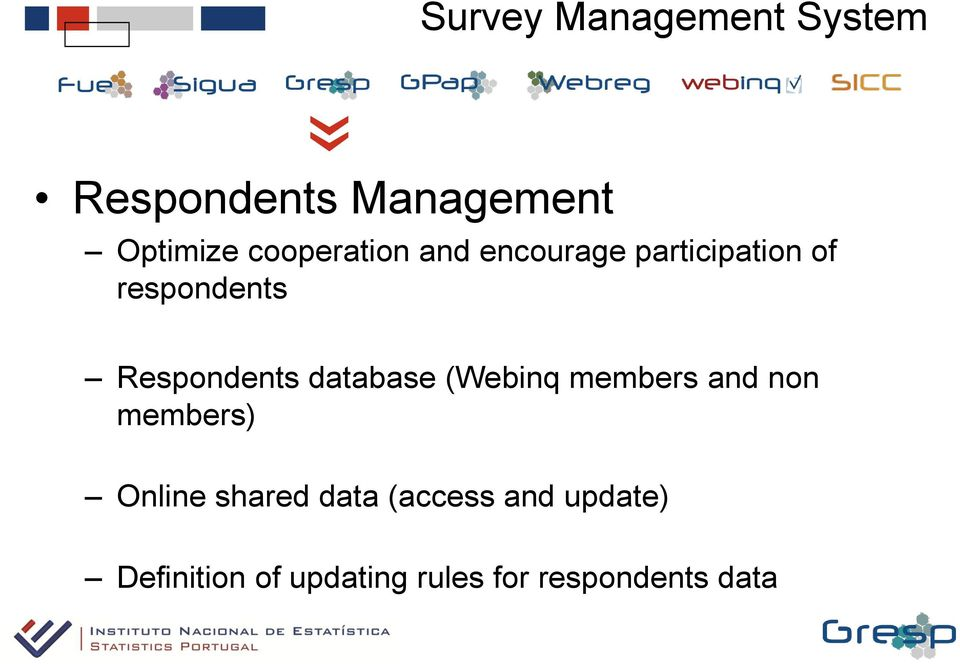 Respondents database (Webinq members and non members) Online