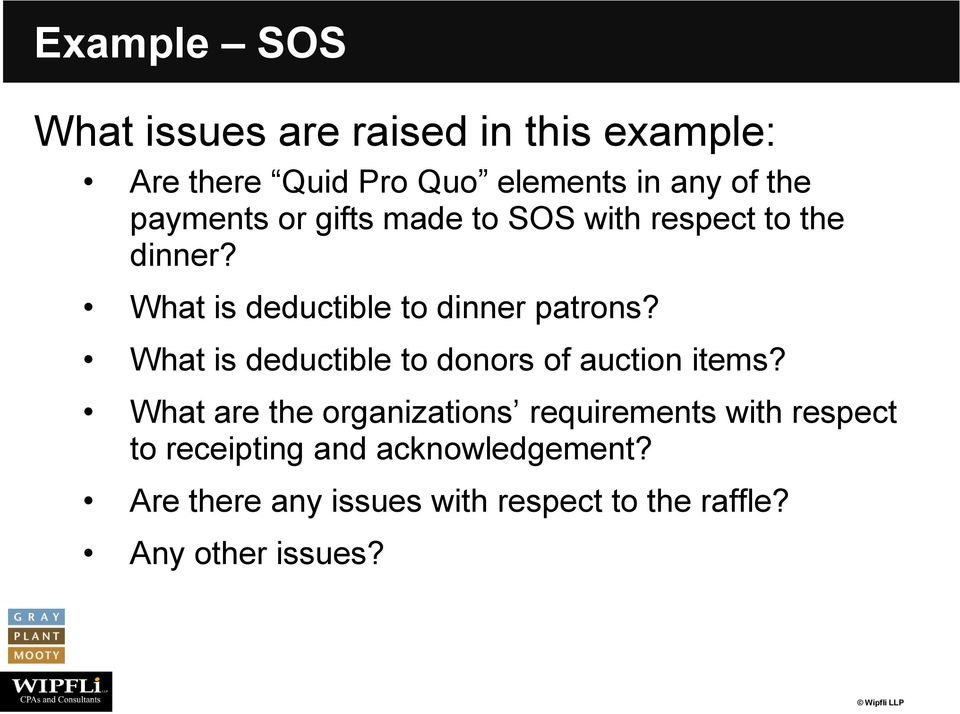 What is deductible to donors of auction items?