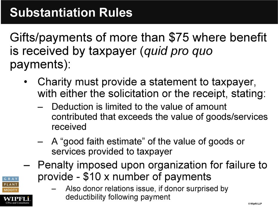 exceeds the value of goods/services received A good faith estimate of the value of goods or services provided to taxpayer Penalty imposed