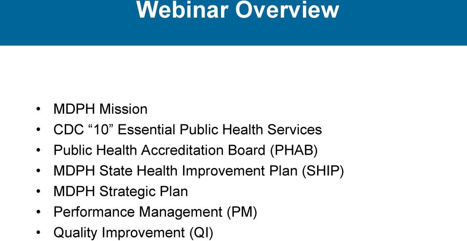 MDPH State Health Improvement Plan (SHIP) MDPH Strategic