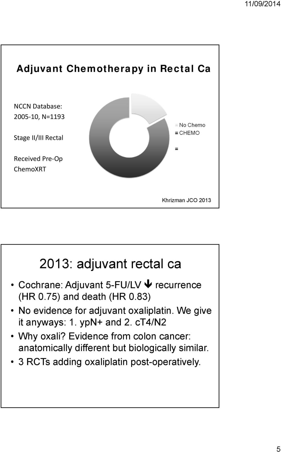 75) and death (HR 0.83) No evidence for adjuvant oxaliplatin. We give it anyways: 1. ypn+ and 2.