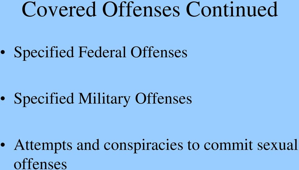 Specified Military Offenses