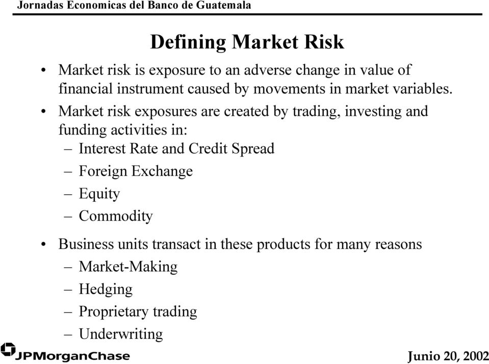 Market risk exposures are created by trading, investing and funding activities in: Interest Rate and